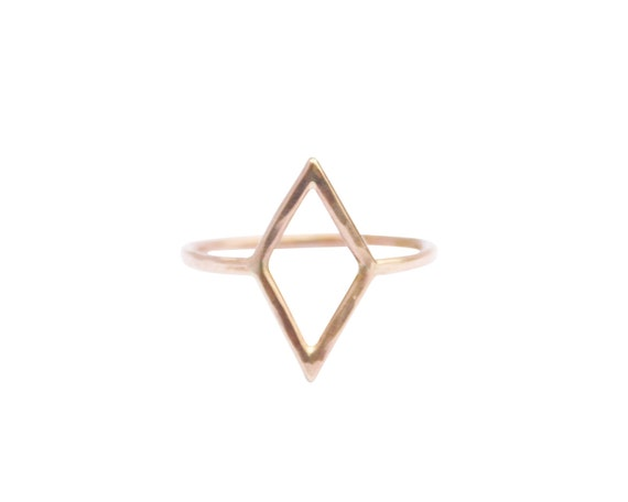 Thin Gold Diamond Shape Ring, Thin Gold Ring, Simple Gold Ring, Geometric Shape Ring, Pinky Ring, Midi Ring, Minimal Gold Ring, Dainty Ring