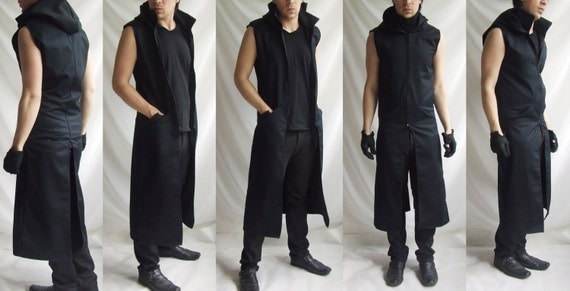 Sleeveless Reaper Hoodie long mens black dark noir sleeveless