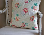 HALF PRICE SALE! Decorative Throw Pillow Cushion Natural Ivory Pink Roses Floral with crochet accents Ooak Shabby Chic Pillow Cover