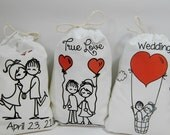 """Wedding Favor Bags Loving Couple Bridal shower for Treat or gift personalized 5"""" X 7"""" or 6"""" X 8"""" Qty 7"""