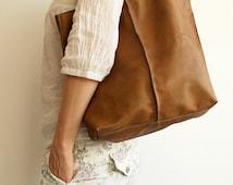 Camel Shopper Tote Bag Leather shopper bag