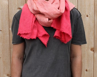 Coral Dip-Dyed Washed Linen Scarf