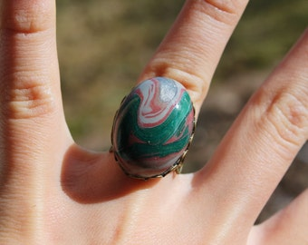 Earthy Marbled Adjustable Ring