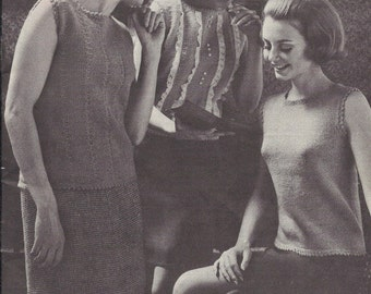 Fashion Setters • 1960s Top Pattern • Vintage Knitting Patterns • Retro Patons Beehive 121 PDF