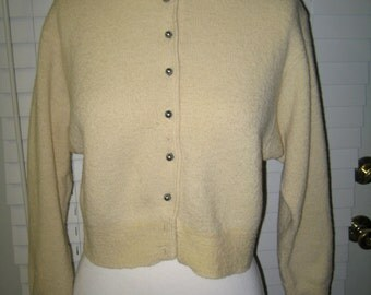 Vintage 1950's Cream Wool Boucle Cardigan Small-Medium