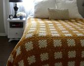 Vintage Crochet Blanket, Handmade Yellow and White Afghan