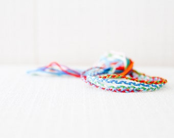 Friendship Bracelet Set of Four Braids Multicolor Embroidery Threads / Stocking Stuffer / Boho / Bohemian