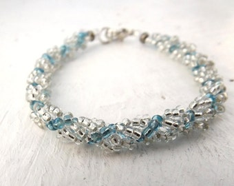 Winter Bracelet in White and Blue Glass