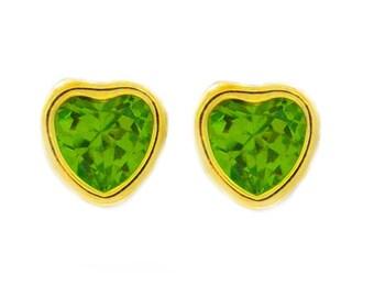 14Kt Yellow Gold Peridot Heart Bezel Stud Earrings