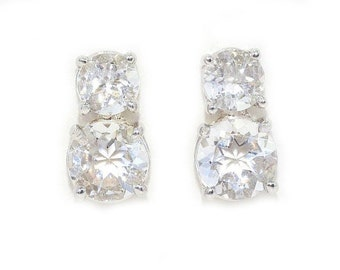 3 Carat White Sapphire Double Round Stud Earrings .925 Sterling Silver Rhodium Finish
