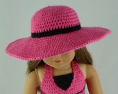 Wide Brim Sunhat - PDF Crochet Pattern - for American Girl Dolls/ 18 in dolls - hat summer shapeable- Instant Download - CHART