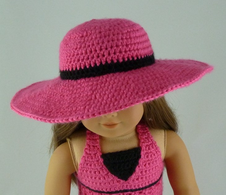 Crochet Hat Pattern American Girl Doll : Wide Brim Sunhat PDF Crochet Pattern for American Girl
