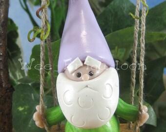 Gnome on Swing for Fairy Garden OOAK Swinging Gnome handmade