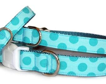 Polka dogs dog collar & dog leash Designer fabric dog collar Turquoise blue boy dog collar Cute girl small dog collar Large dog collar