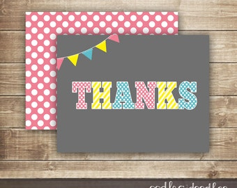 Thank You Card /  Pink & Turquoise, Yellow / Stripes and Polka Dots Thank You Note / Folded Note Card - INSTANT DOWNLOAD - Printable