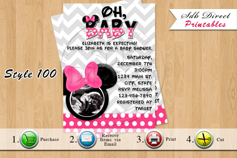 minnie mouse baby shower invitation minnie by yellowfieldsdesigns