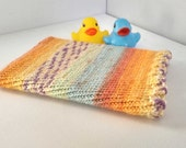 Rainbow Kindle Sleeve, Hand Knitted Kobo Cosy, Orange and Blue Tablet Case, Stripy eReader Cover, Yellow and Purple, Made in Scotland