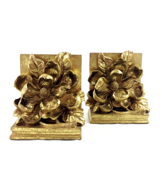 Sold Vintage Magnolia Bookends Gold Flowers By Harpersflea