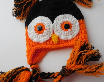 Owl Hat - Halloween - Baby Hat - Black and Orange - Handmade Crochet - Made to Order