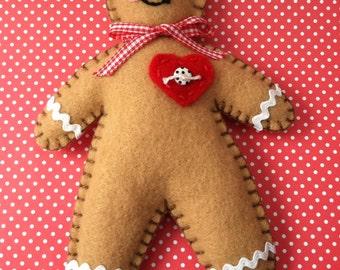 Gingerbread Man Felt Ornament/Doll