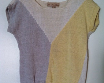 White purple and yellow short sleeve knit top - Small