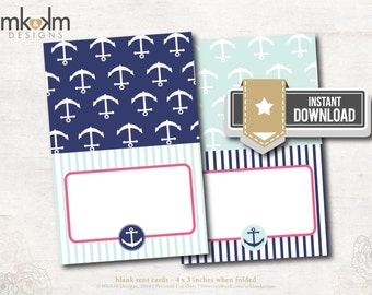 Nautical Bridal Shower : Tent Cards - Food Cards - Place Cards - INSTANT DOWNLOAD - #2106 Pink and Blue