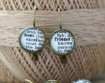 Best Friend Dangle Earring Set Dictionary Pages Friendship Jewelry Dictionary Friend Jewelry Earring Set Gift For Friend,Gifts under 25