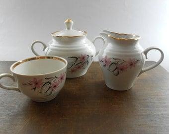 Soviet vintage cream sugar cup set RPR porcelain White pink floral porcelain USSR era porcelain