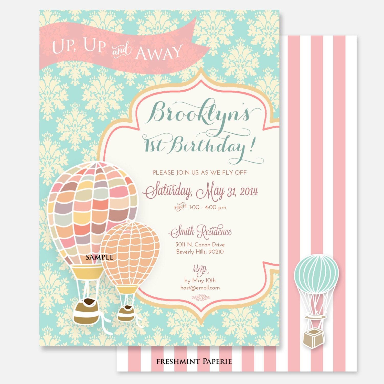 Printable Invitations Hot Air Balloon Invitation Birthday