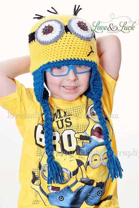 Free Knitting Pattern For Minion Hat With Ear Flaps : Minion Crochet Hat with Ear Flaps and Ties for by ShopLoveandLuck