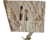 Artist Paint Brush Roll, Embroidered Linen natural beige
