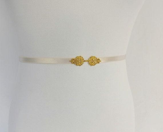 Elastic skinny waist belt. Gold filigree buckle. Bridal/ Briesmaid thin belt. Ivory/ Light purple/ Champagne/ Gold/ Black/ White/ Mint green