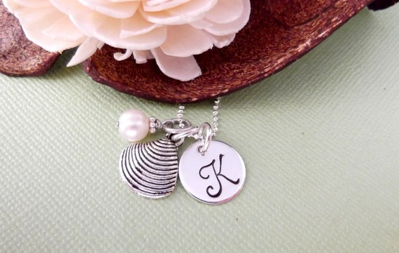 Sea Shell Charm Necklace with Initial Charm and Freshwater Pearl- Hand Stamped Initial Charm Necklace- Children's Jewelry