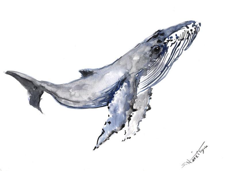 Humpback Whale Original watercolor painting 9 X 12 in sea
