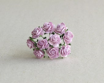 15mm Mini Lilac Paper Flowers - 10 light purple mulberry paper roses with wire stems [188]