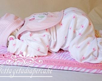 Girl sleeping baby,diaper cake, diaper baby