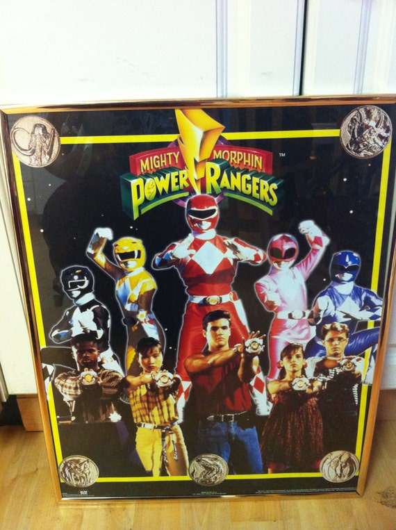 Mighty Morphin Power Rangers 90s Poster Framed Saban