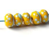 handmade glass lampwork bead  - yellow turquoise - 5 pcs glass lampwork beads set - MyGlassLampwork
