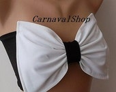 PADDED White and black  bow swimsuit spandex bandeau strappless bra bandeau bikini siwmwear bandeau bikini top women's fashion