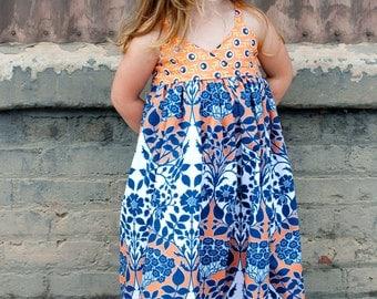 Girls Maxi Dress- Modern Kids Clothing- Custom Girl Maxi Dress- Maxi- Boutique Maxi- Custom Maxi Dress- Size 6 yr to 8 yr- The Dottedduck