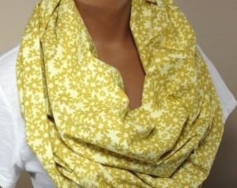 Retro Scarf, Mustard Scarf, Mustard Floral Print Infinity Scarf, Retro Scarf