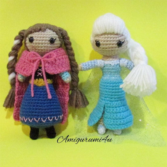 Amigurumi Elsa Ve Anna : Items similar to Disney Frozen Anna Elsa Amigurumi Crochet ...