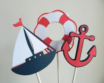 3 Nautical Centerpiece Sticks, Nautical Table Decor, Sailboat Cupcake Toppers, Anchor Cupcake Toppers