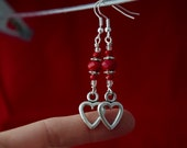 Silver Heart Earrings Red Crystal bead - Valentines Day Gift- Free Shipping