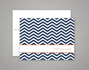 Personalized Stationery - Chevron - Foldover Note Cards - Personalized Stationary