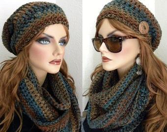 Crocheted Infinity Set,  Scarf and Slouch Hat, boho Chic Woman's Infinity Scarf, Infinity Scarf, Southwestern Colors, Women's  Accessories