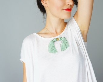 Summer Party Mint Necklace Unique Necklace Party Necklace Cocktail Necklace Boho Chic Boho Accessory Tassel Necklace Tassel Jewelry / MOOS