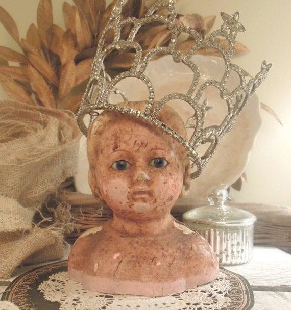 Creepy Vintage / Antique Victorian Doll / Papier-mâché Doll