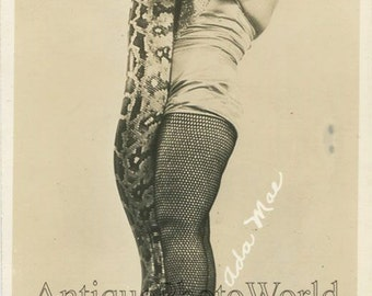 Ada Mae woman snake charmer antique circus photo card