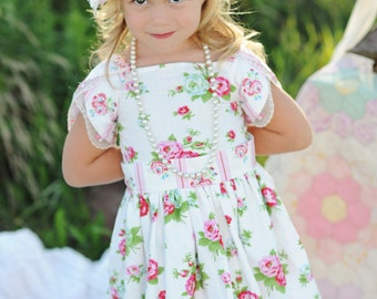 SALE...Buy 2 get 1 Free...The Tulip Dress Scalloped Border Split Sleeve Instant Download PDF Sewing Pattern, 6-12m to 8